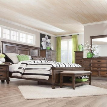 Coaster 200971Q 5 pc Francis II collection burnished oak finish wood queen bed set with louvered look