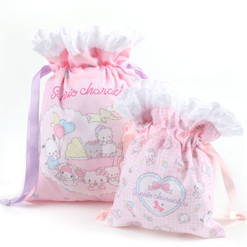 Sanrio characters 2 pc Drawstring Bag Set: Sanrio babies