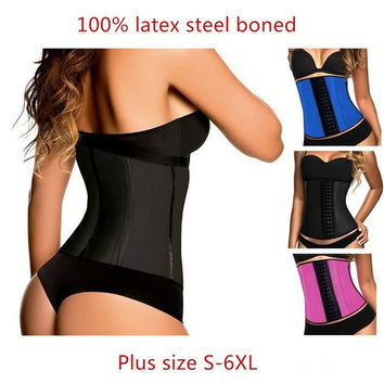 2015 top selling 9 steel boned latex waist trainer corset sexy underbust waist cincher corsets body shaper wear for women = 1929966916