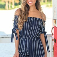Navy Striped Off Shoulder Romper