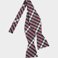 ESQUIRE RED AND NAVY CHECK BOW TIE