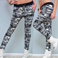 Activing Hot Womens Camouflage Button Elastic Waistband Yoga Workout Gym Leggings Fitness Sports Trouser Athletic Pants DEC.7