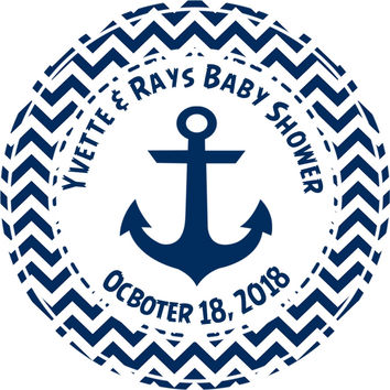 """Boys Nautical Chevron Baby Shower Stickers Or Favor Tags - 2.5"""" Round"""