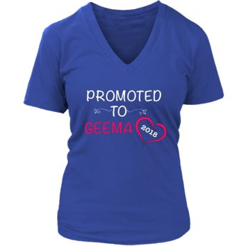 """Promoted"" V-Neck Geema New Grandma T-Shirt"