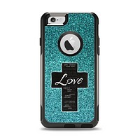 The Love is Patient Cross on Teal Glitter print Apple iPhone 6 Otterbox Commuter Case Skin Set