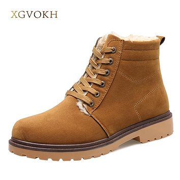 Mens Shoes Winter New footwear Fashion Ankle Boots For Man Lace Up Mens Rubber Boot
