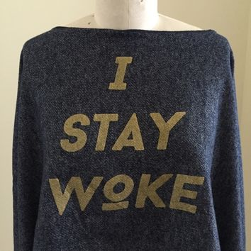 I STAY WOKE/EYE OF RA Oversized Sweater Crop Top DENIM BLUE w/GOLD detail