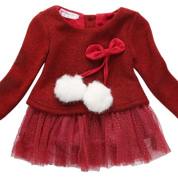 Toddler Baby Girls Winter Long Sleeves Knitted O-Neck Bow Tutu Princess Party Dress Clothes Outfits