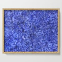Royal blue swirls doodles Serving Tray by savousepate