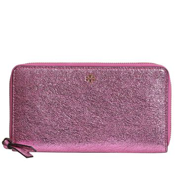 Tory Burch Crinkle Metallic Zip Continental Wallet