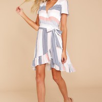 Seaside View White Multi Stripe Dress