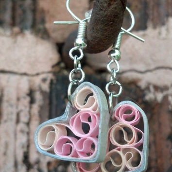 Paper Quilled Earrings Sweetheart Filigree - Silver and Pink - quilling earrings, quilled paper jewelry, heart earrings, eco friendly
