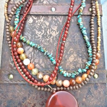 Orange agate pendant, orange and peach agate stone, Green turquoise stone chips, wood and copper necklace.