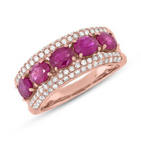 0.49ct Diamond & 2.08ct Ruby 14k Rose Gold Lady's Ring