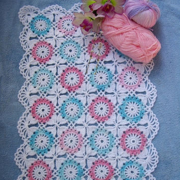 ON SALE - 10% OFF Granny Square American girl doll blanket...Crochet 18 inches doll blanket...