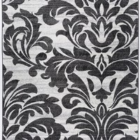 2911 White Gray Damask Design Area Rugs
