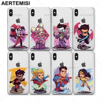 Aertemisi Joker Nightwing Robin SuperGirl Superman Wonder Woman Clear TPU Case Cover for iPhone 5 5s SE 6 6s 7 8 Plus X