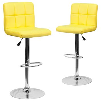 2 Pk. Contemporary Quilted Vinyl Adjustable Height Barstool with Chrome Base