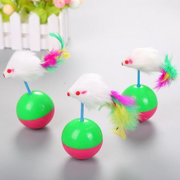 Pet Cat Kitten Toys Rolling Scratching Ball Funny Cat Kitten Play Mouse Shape Pet Tumbler Cats Toys Interactive Feather Toys