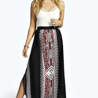Savannah Curve Hem Placement Print Maxi Skirt