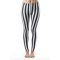Black and White Striped Plus Size Leggings