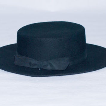 Vintage Black Wool Sombrero Cordobés Style Hat By Tinatoo. Size 7 5/8. XL
