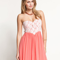 Pink Crochet Lace Strapless Mesh Skater Dress
