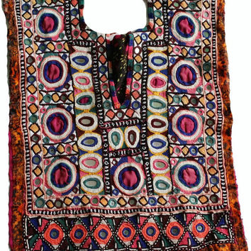 Free Shipping - Indian Vintage Neck Yoke Embroider Work And Mirror work. Handmade Applique Patch Sewing craft, cotton fabric neck yoke.