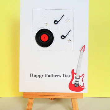 Fathers day card, card for Dad, happy Fathers day, music card, guitar card, quilled card, handmade card, music lover card, retro card,
