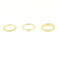CRYSTAL STACKED RING SET - GOLD