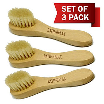 Natural Bristles - Face Cleansing Brush, Deep Pore Scrub Face Cleanser & Exfoliating - Set of 3 Pack Wooden Handle, For Men or Women, Facial Cleanser Brushes Exfoliation. For Dry Skin Brushing