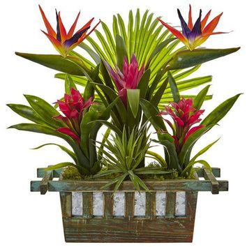 ONETOW Birds of Paradise and Bromeliad in Planter
