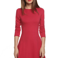 Long Sleeve A Line Fit and Flare Dress