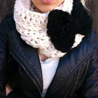 Cream Crochet Cowl with Black Bow- infinity scarf- crochet bow neck warmer