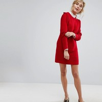 Willow And Paige Ribbed Sweater Dress With Frill Shoulder Detail at asos.com