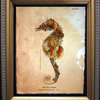 Seahorse Seashells Collage Art Print - Seashells Art - Vintage Style Nautical Art Print Seahorse on Tea Stained Paper