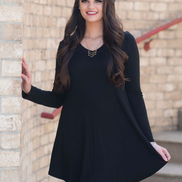 Black Fall Flare Dress
