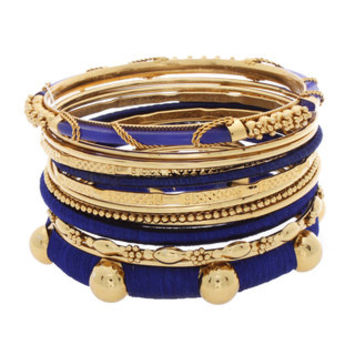 NEXTE Jewelry Goldtone Navy Blue Silk 13-piece Stackable Bracelet Set | Overstock.com