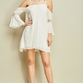 Open-shoulder shift dress - Off White