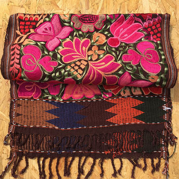 Seasonal Mexican wall hanging - table runner, wall hanging, carpet home décor, Mayan hand made traditional woven textile