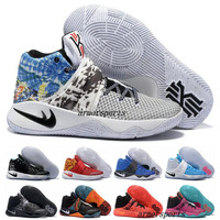 New 2017 Kyrie Irving Shoes Mens Basketball Shoes Kyrie 2 II Bright Crimson Tie Dye BHM Basket Ball Olympic Men Shoes Sneakers For Cheap