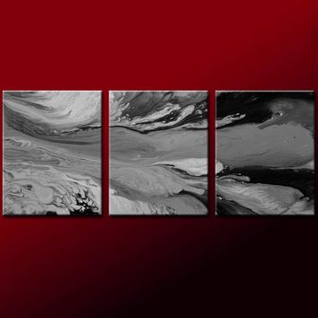 3Ppc Set of Abstract Wall Art Prints Contemporary by Destiny Womack - dWo - In The Silver Skies