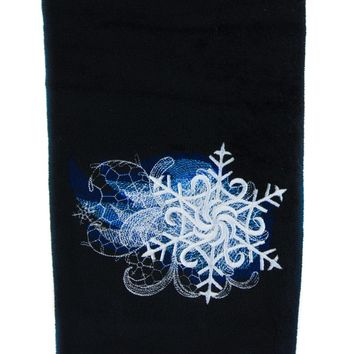 Winter Holiday Snowflake Hand Towel Kitchen and Bath Baroque Gothic Home Decor