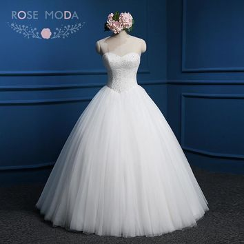 Rose Moda Fully Beaded Corset Princess Wedding Ball Gown Crystal Corset Puffy Wedding Dress with Bow Lace Up Back
