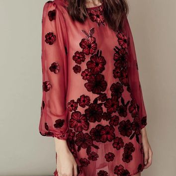 Red Floral Print Long Sleeve Chiffon Dress with Cami Lining