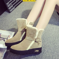 Beige Fur Buckle  Ankle Boots