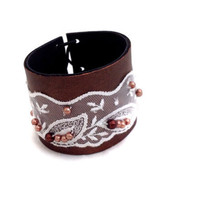 Lace and leather bracelet Woman cuff bracelet Fabric jewelry