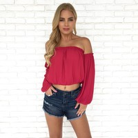 Off The Cuff Blouse in Berry