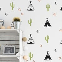 Tribal Wall Decals - Multicolored Wall Decals, Nursery Decals, Teepee Decals, Cactus Decals, Moon Wall Decals