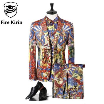 Men Wedding Suits Dragon Vintage Prom Suits Latest Coat Pant Designs Royal Costume Prom Stage Wear